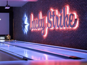 Classy atmosphere with bowling and drinks at Lucky Strike Lanes in Boston.